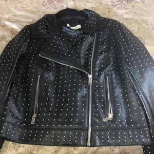Leather studded jacket